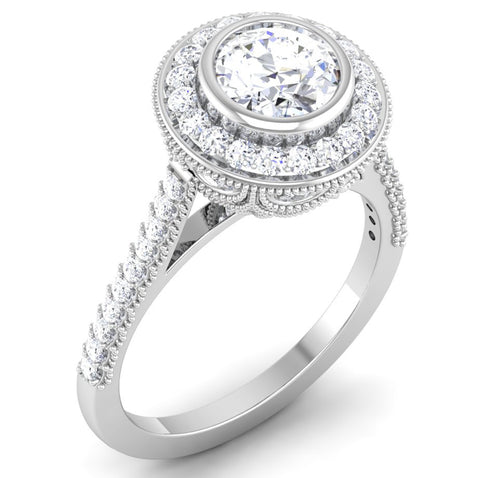 Perspective View of 30 Pointer Platinum Shank Halo Diamond Solitaire Engagement Ring JL PT 6635