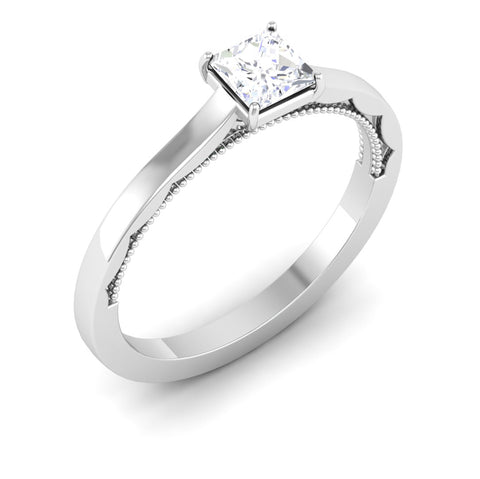 Perspective View of 30 Pointer Princes Cut Platinum Diamond Solitaire Engagement Ring JL PT 6578