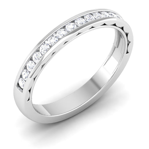 Perspective View of Designer Half Eternity Platinum Wedding Band with Diamonds JL PT 6731