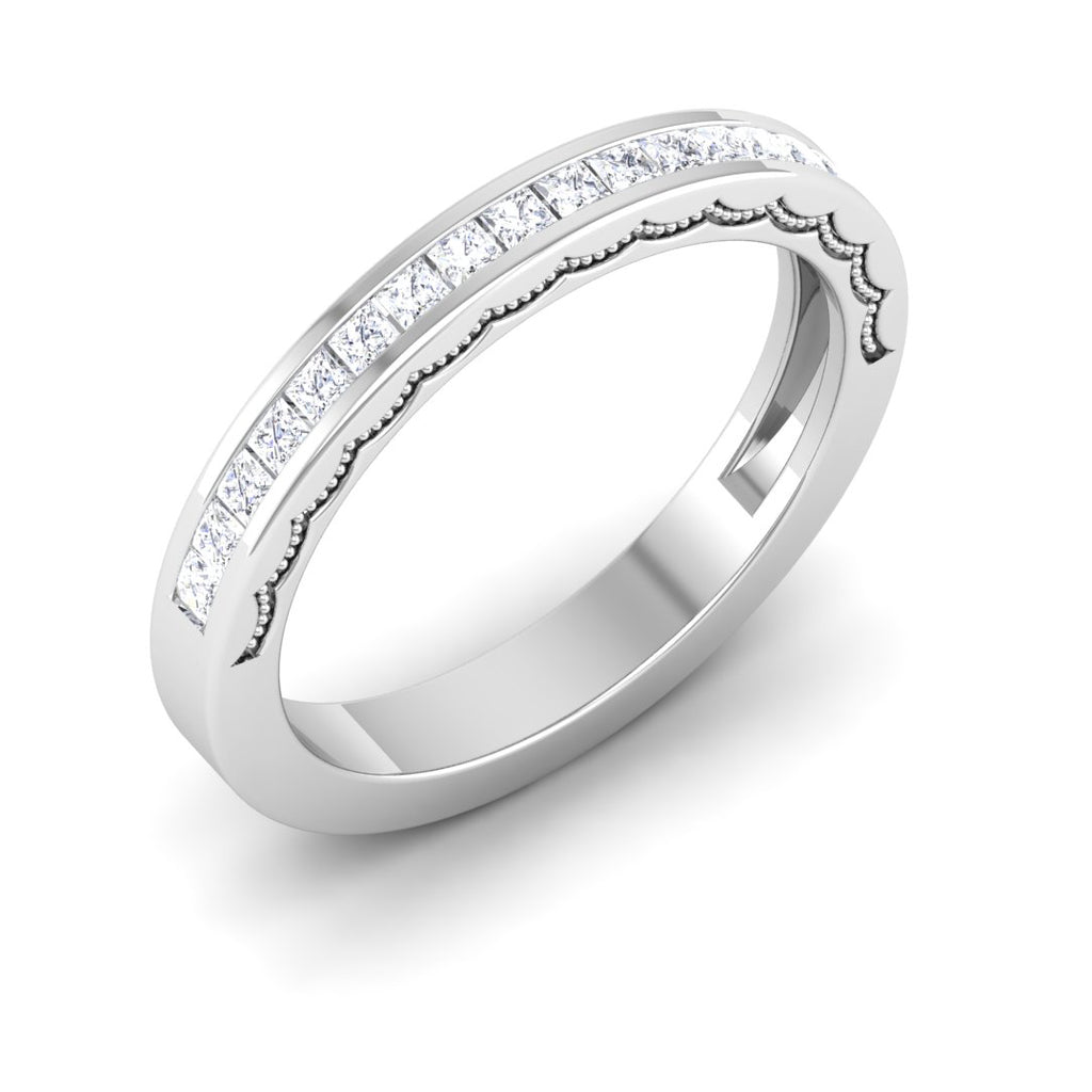 Perspective View of Designer Half Eternity Platinum Wedding Band with Diamonds JL PT 6764