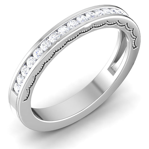 Perspective View of Designer Half Eternity Platinum Wedding Band with Diamonds JL PT 6771