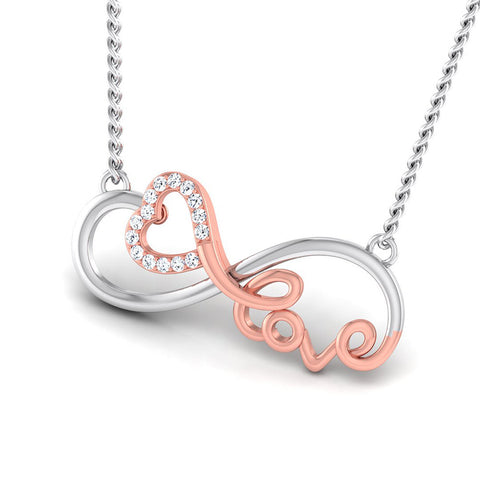 Perspective View of Designer Platinum of Rose Heart Love Pendant with Diamonds JL PT P 8086