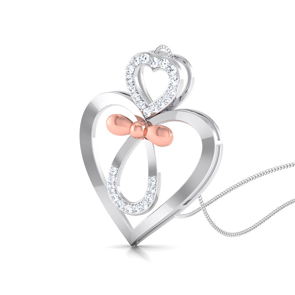 Perspective View of Designer Platinum of Rose Double Heart Pendant with Diamonds JL PT P 8082