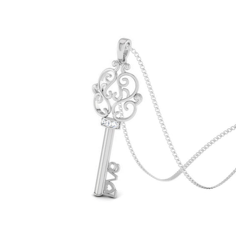 Perspective View of Platinum Key to Your Heart  Pendant with Diamonds JL PT P 8191