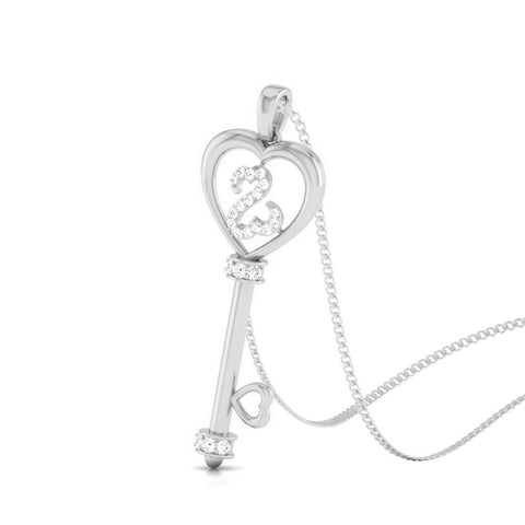 Perspective View of Platinum Key to Your Heart  Pendant with Diamonds JL PT P 8198