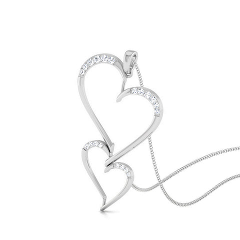 Perspective View of Platinum Double Heart Pendant with Diamonds JL PT P 8078