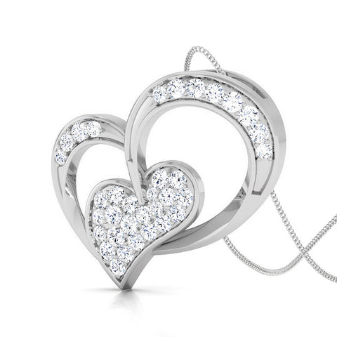 Perspective View of Platinum Double Heart Pendant with Diamonds JL PT P 8089