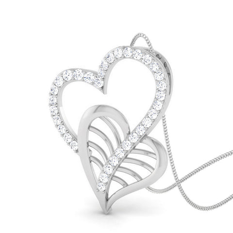 Perspective View of Platinum Double Heart Pendant with Diamonds JL PT P 8092