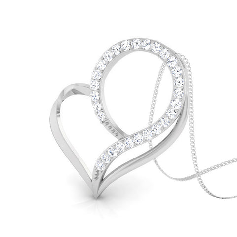 Perspective View of Platinum Love Pendant with Diamonds JL PT P 8095