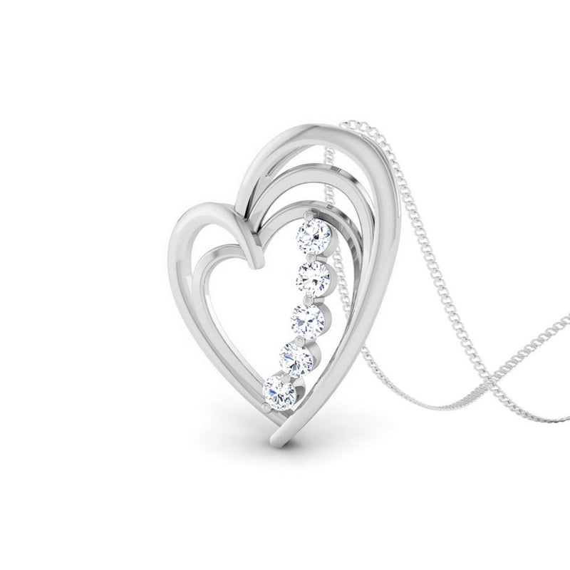 Perspective View of Platinum Love Pendant with Diamonds JL PT P 8097