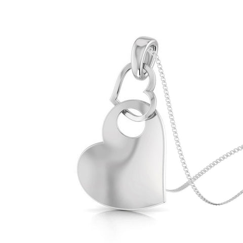 Perspective View of Platinum Love Pendant with Diamonds JL PT P 8108