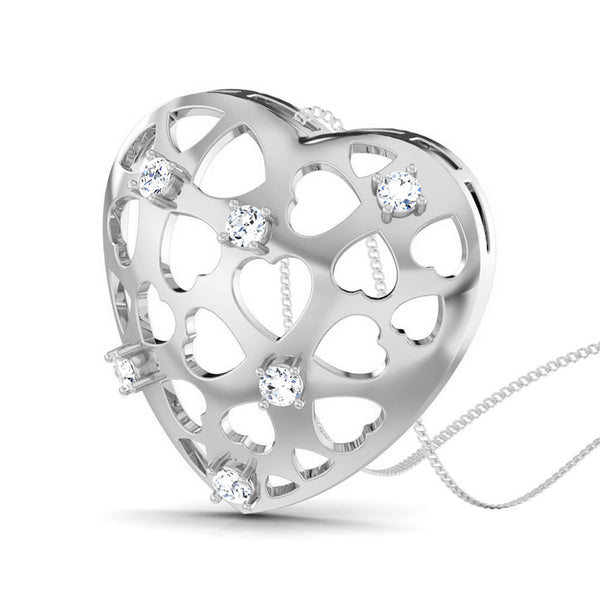 Perspective View of Platinum Love Pendant with Diamonds JL PT P 8184