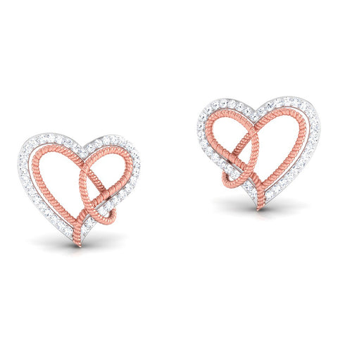 Perspective View of Platinum of Rose Double Heart Pendant Earring with Diamonds JL PT P 8084