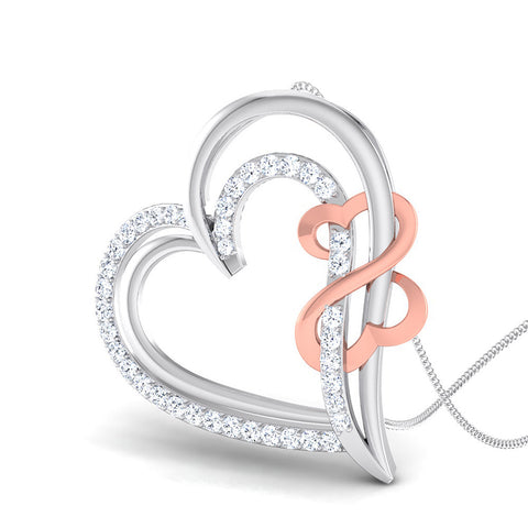 Perspective View of Platinum of Rose Double Heart Pendant with Diamonds JL PT P 8073