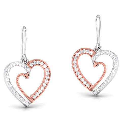 Perspective View of Platinum of Rose Half Heart Pendant Earring with Diamonds JL PT P 8063