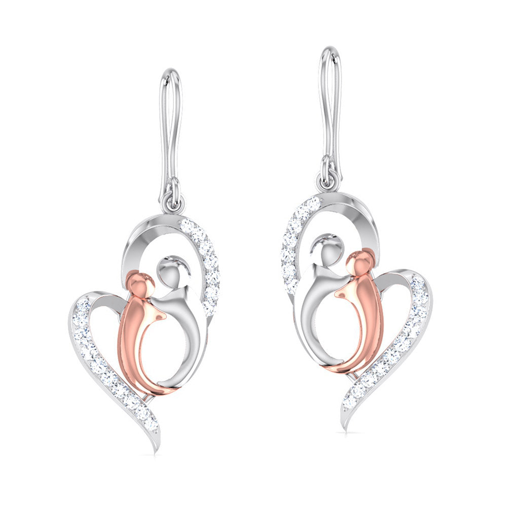 Perspective View of Platinum of Rose Heart Earring with Diamonds JL PT E 8100