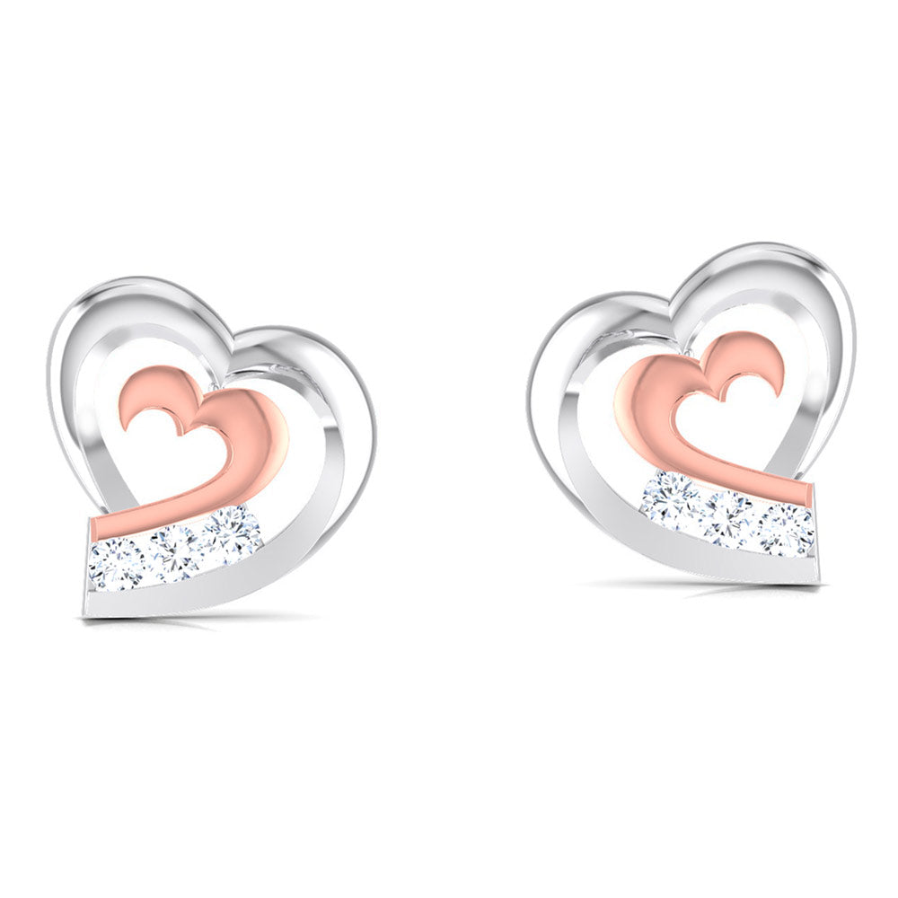 Perspective View of Platinum of Rose Heart  Earring with Diamonds JL PT E 8169