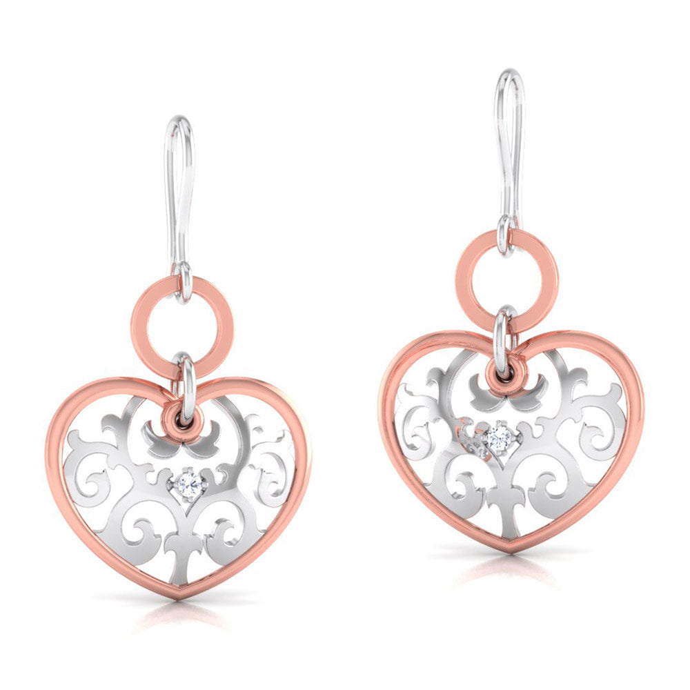 Perspective View of Platinum of Rose  Heart  Earring with Diamonds JL PT E 8230