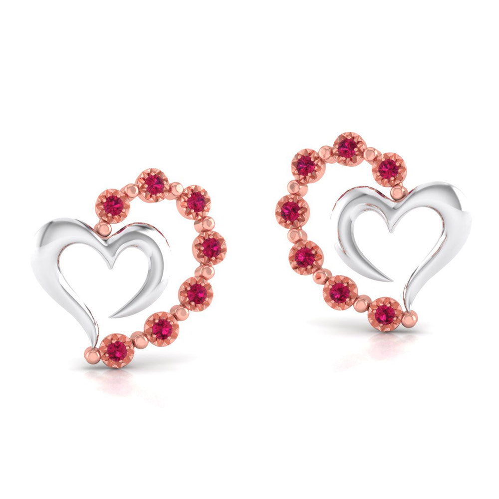 Perspective View of Platinum of Rose  Heart  Earring with Diamonds JL PT E 8240