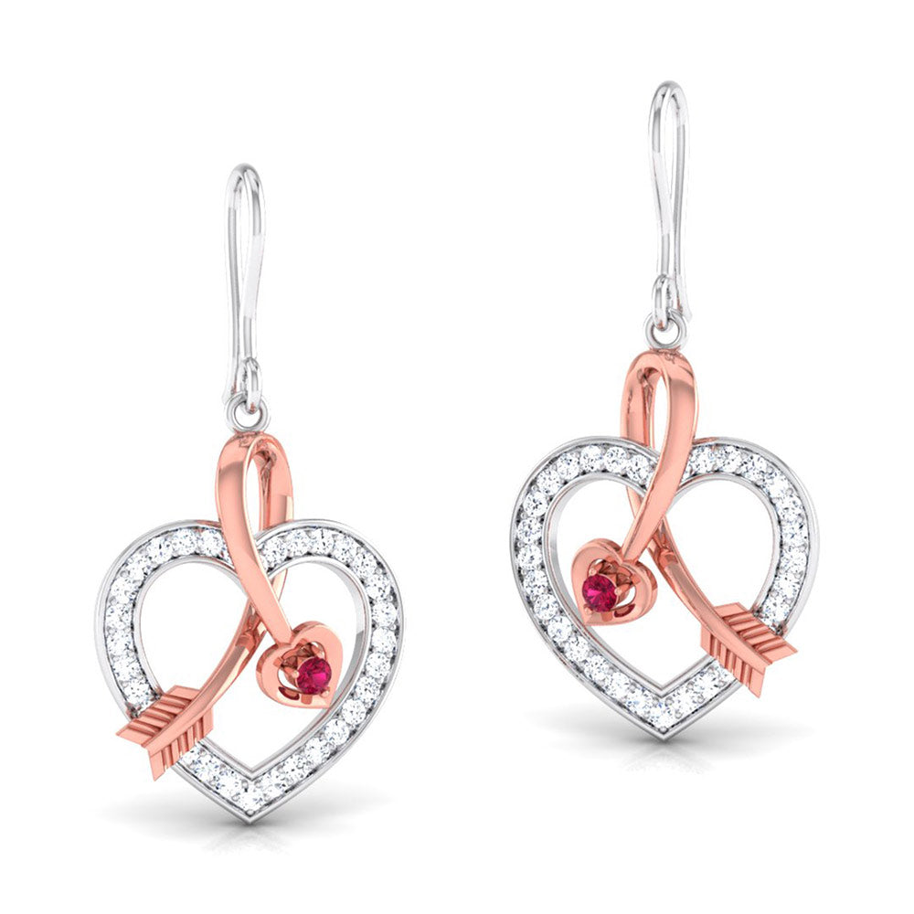 Perspective View of Platinum of Rose Heart Pendant Earring with Diamonds JL PT P 8064