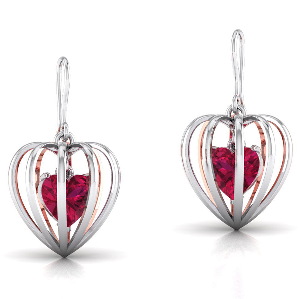 Perspective View of Platinum of Rose Heart Pendant Earring with Diamonds JL PT P 8072