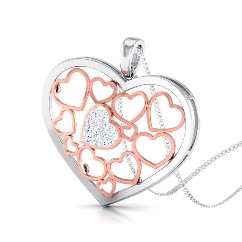 Perspective View of Platinum of Rose Heart Pendant with Diamonds JL PT P 8105