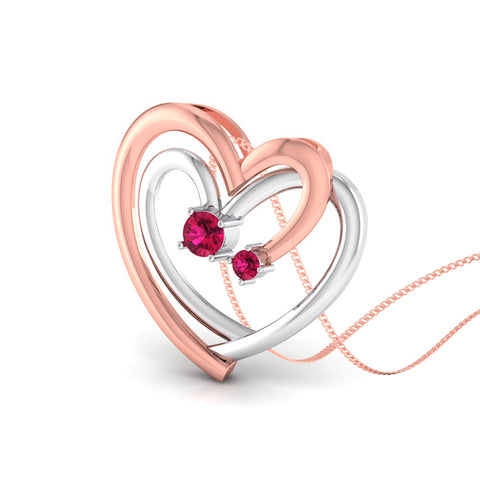 Perspective View of Platinum of Rose Heart Pendant with Diamonds JL PT P 8217