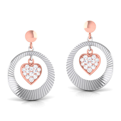 Perspective View of Platinum of Rose Heart & Round Earring with Diamonds JL PT E 8113