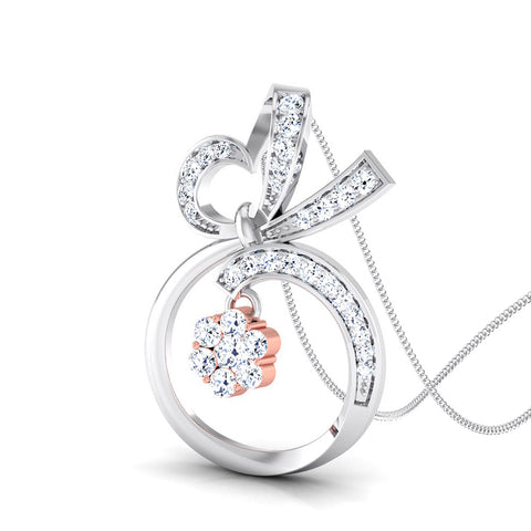 Perspective View of Platinum of Rose Round & Heart Pendant with Diamonds JL PT P 8074