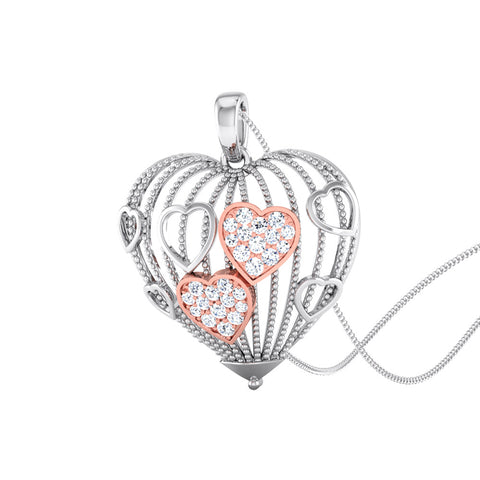 Perspective View of Platinum of Rose Tripple Heart Pendant with Diamonds JL PT P 8000