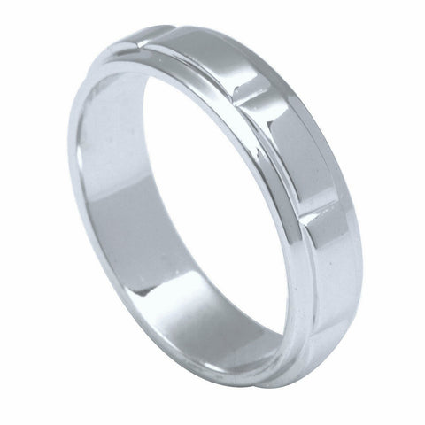 Plain Platinum Ring for Men with Raised Sections JL PT 494