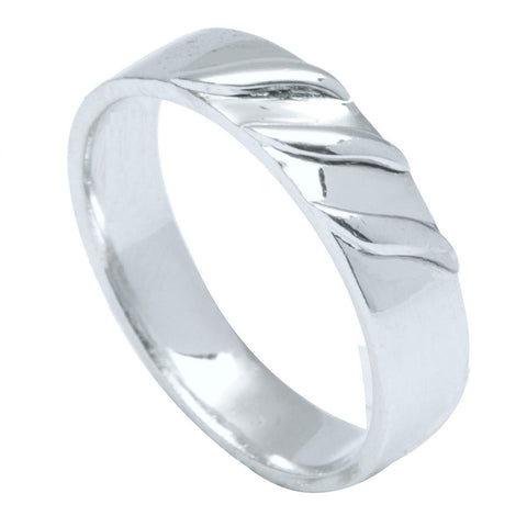 Plain Platinum Ring with 3 Wings for Men JL PT 496