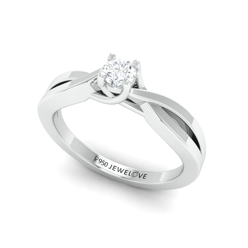 4 Prong Platinum Solitaire Ring with a Twist JL PT 676