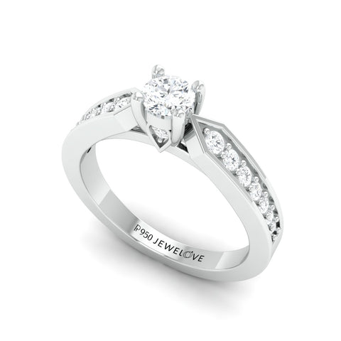 Ready to Ship - Ring Size 12, Platinum Solitaire Ring with Diamond Accents JL PT 672