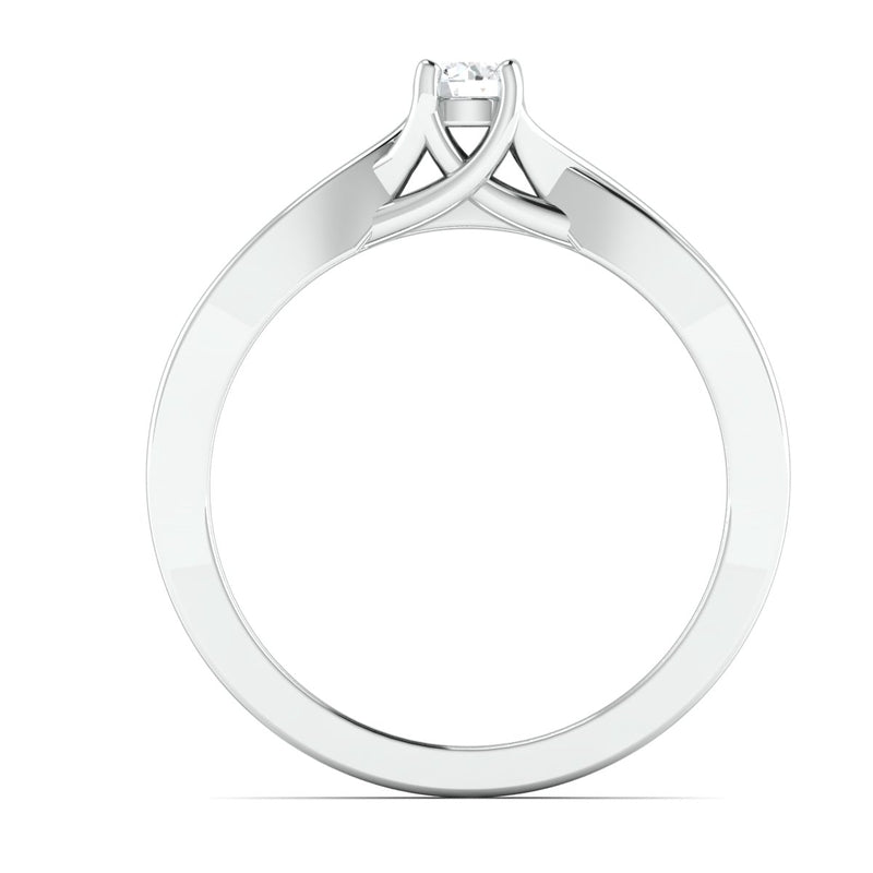 Ready to Ship - Ring Size 12, 15 Pointer Platinum Solitaire Engagement Ring with a Twist JL PT 676