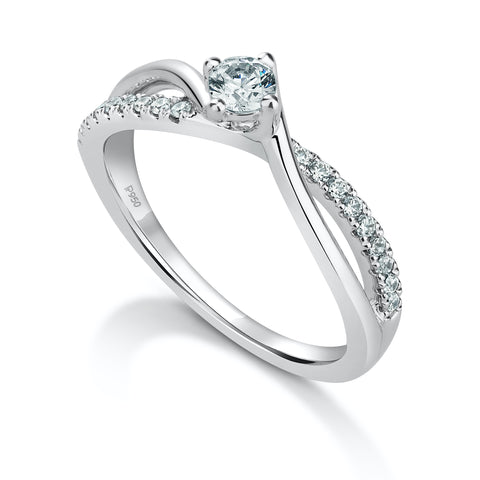Ready to Ship Size 12 - Platinum Solitaire Ring with a Twist JL PT 675