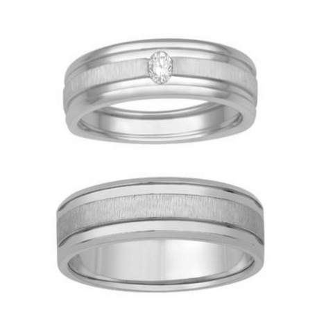 Platinum Couple Rings with Matte Finish & Single Diamond JL PT 629