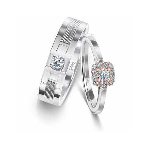 Designer Platinum Couple Rings with Diamonds JL PT 920