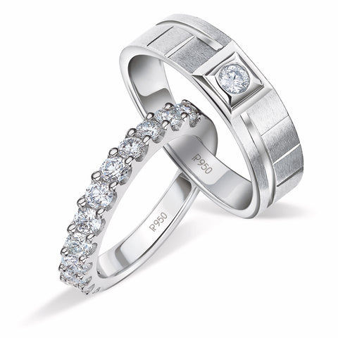 Platinum Couple Rings with Single Diamond Ring for Men & Half Eternity Ring for Women JL PT 908
