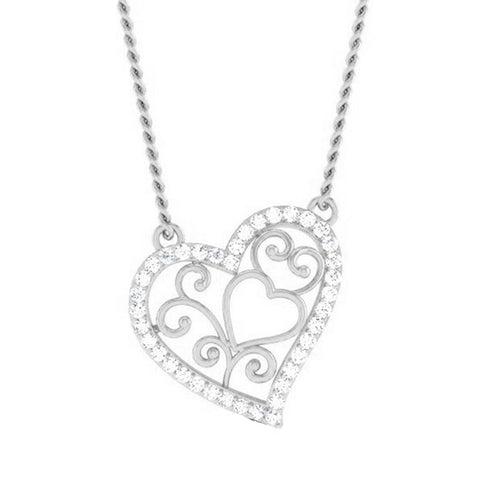Platinum Heart Pendant with Diamonds JL PT P 8085