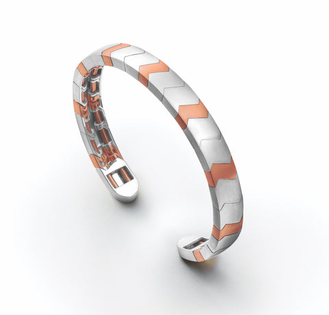 Men of Platinum | Rose Gold Fusion Cuff Bracelet for Men JL PTB 649