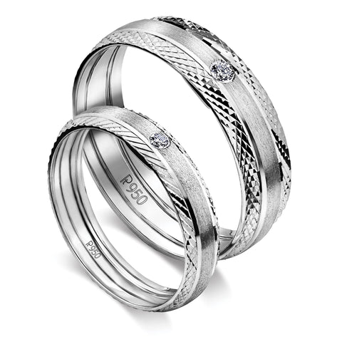 Platinum Love Bands with Single Diamonds and a Unique Texture JL PT 598