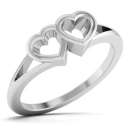 2 Hearts Plain Platinum Ring JL PT 550 for Women