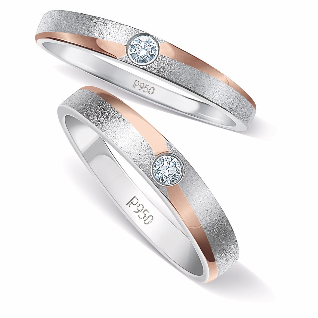 Platinum Love Bands with a Touch of Rose Gold and Single Diamonds JL PT 902