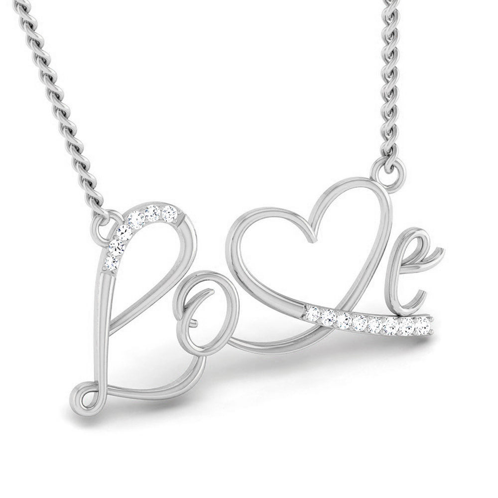 One Pendant Designed As Platinum Love With Diamonds JL PT P 169 By Jewelove