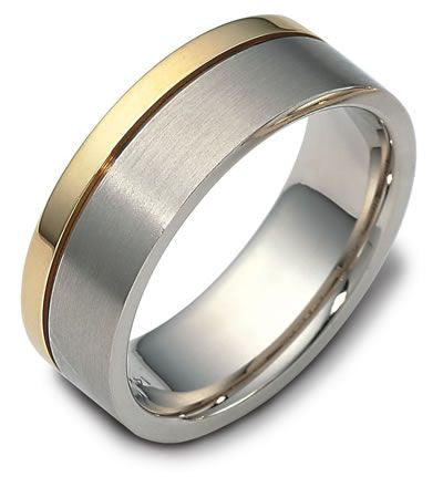 6mm Platinum Ring with 2mm Yellow Gold Line for Men JL PT 518