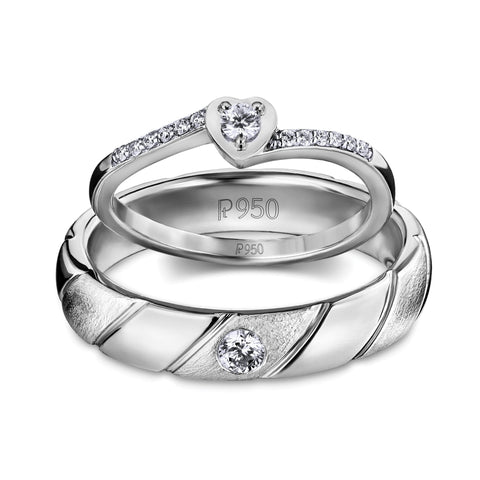 Heart & Mind Platinum Couple Rings with Diamonds JL PT 595