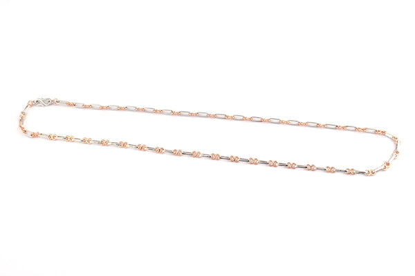 Platinum & Rose Gold Chain with One Rectangular Link of Platinum & 2 round links of Rose Gold JL PT 734