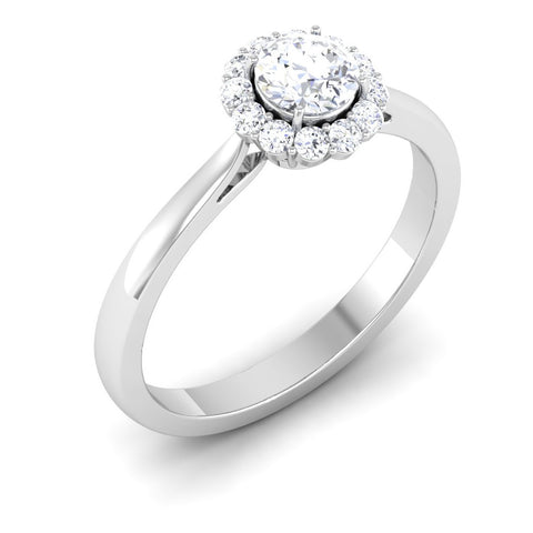 Platinum Solitaire Diamond Engagement Setting with Single Halo JL PT 498-M