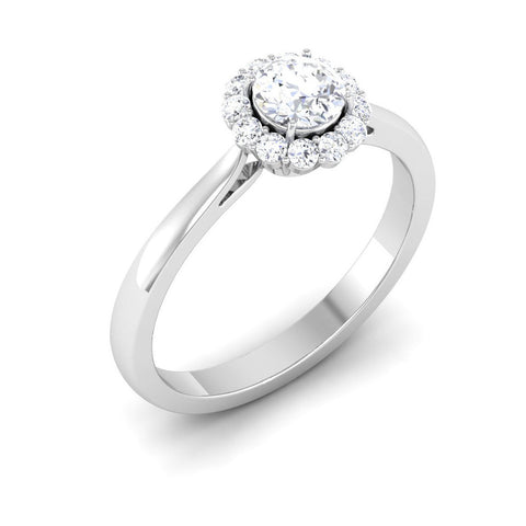 Platinum Solitaire Diamond Engagement Ring with Single Halo JL PT 6998